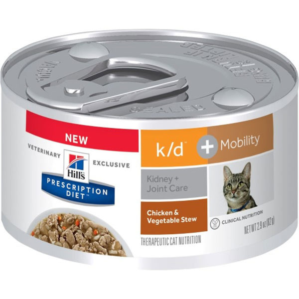 Hill's Prescription Diet k/d Plus Mobility Chicken & Vegetable Stew Canned Cat Food 82g