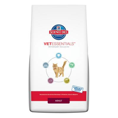 Available exclusively from your veterinarian, Hills™ Science Diet™ VetEssentials™ Adult Feline is uniquely formulated to help address five common health concerns for adult cats.